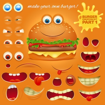 Creation kit of emoticon cartoon burger character.