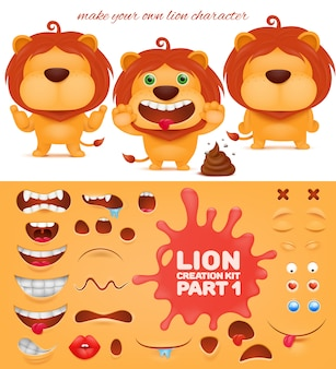 Creation kit of emoticon cartoon lion character.