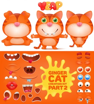 Creation kit of ginger emoticon funny cat.