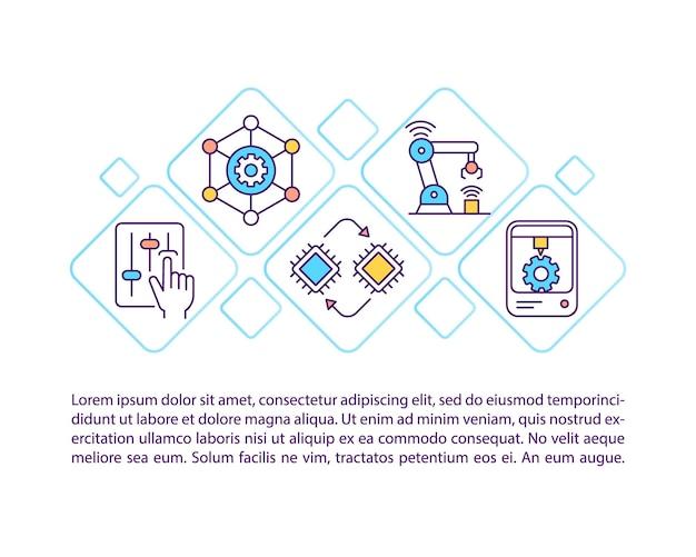 テキスト付きの生産システムコンセプトアイコンの作成。人工知能とコグニティブコンピューティングのpptページテンプレート。パンフレット、雑誌、線形イラストと小冊子のデザイン要素