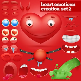Creation set of cartoon heart emoticon character.