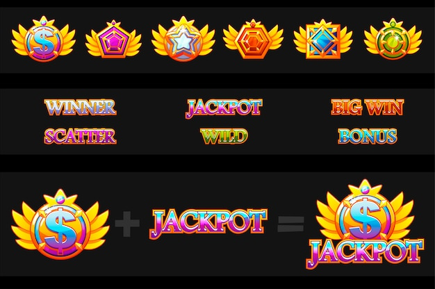 Creations slot machine and game icons.  colorful jewelry stones. icons constructor. game asset for casino and ui