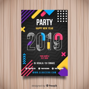 Creative 2019 new year party poster