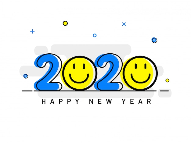 Creative 2020 text with smiley emoji on white