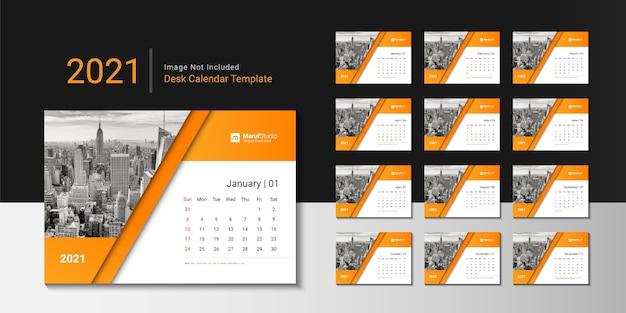 Креативный дизайн шаблона настольного календаря на 2021 год