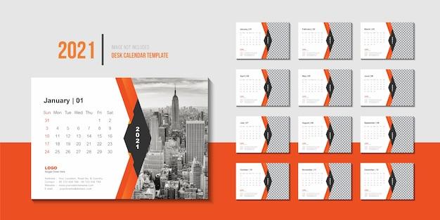 Creative 2021 desk calendar template design