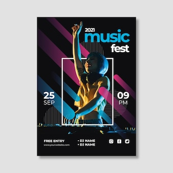 Шаблон плаката музыкального события creative 2021