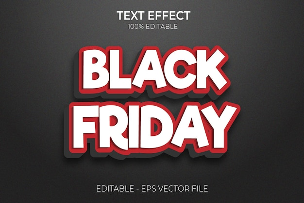 Creative 3d black friday modern text effects with premium vector
