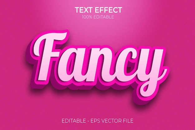 Creative 3d fancy editable text effects pink and glossy premium vector