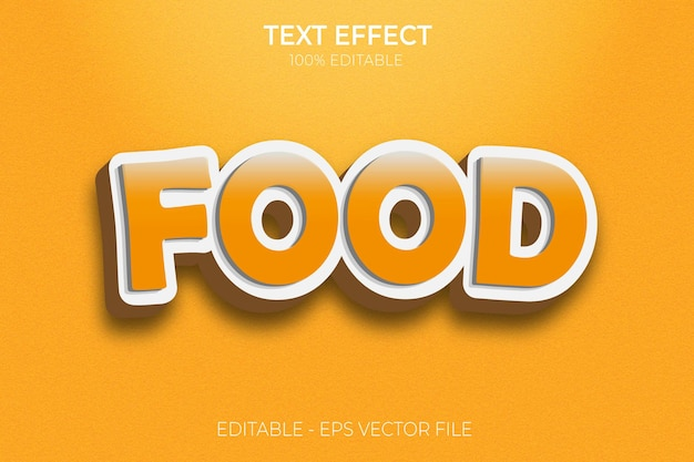 Creative 3d food bold text effect premium vector