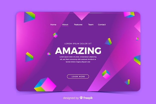 Creative 3d geometric landing page template