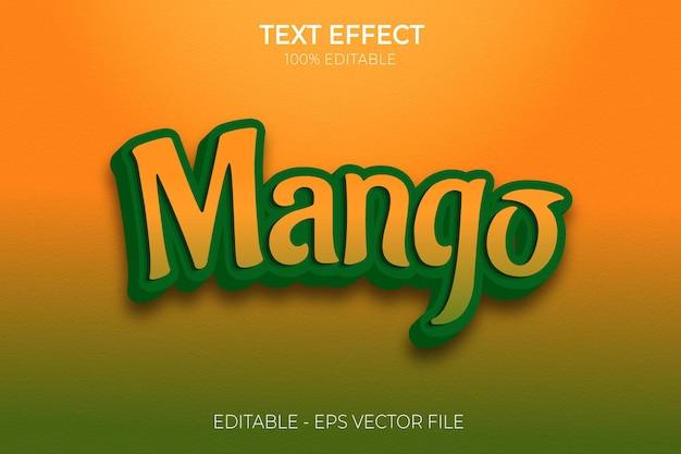 Creative 3d green mango text effect premium vector
