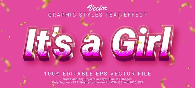 クリエイティブ3dそれは女の子のテキスト効果スタイルです