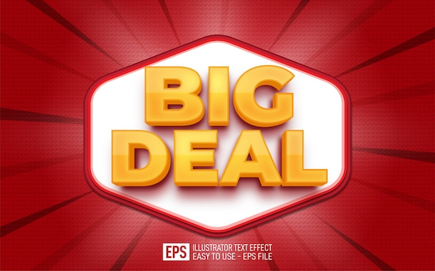 Creative 3d label text big deal editable style effect template