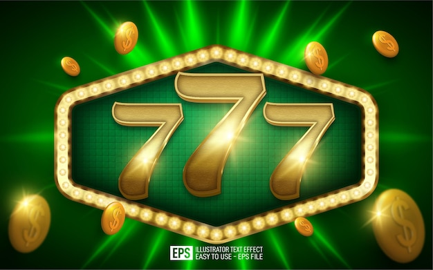 Creative 3d number 777, editable style effect template