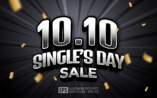 Creative 3d text 10.10 single's day sale 3d design editable style effect template