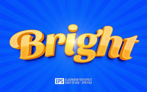 Creative 3d text bright editable style effect template