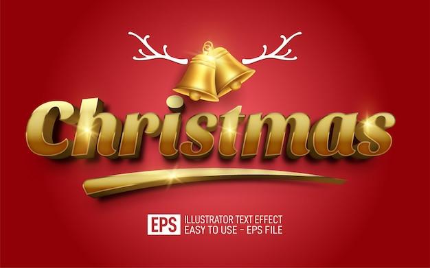 Creative 3d text christmas editable style effect template