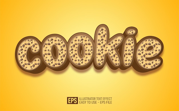 Creative 3d text cookie, editable style effect template