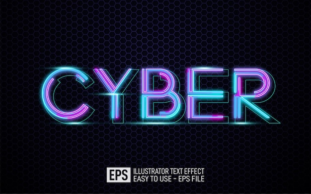 Creative 3d text cyber, editable style effect template