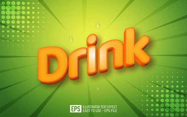 Creative 3d text drink editable style effect template