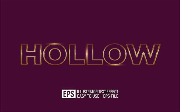 Creative 3d text hollow, editable style effect template