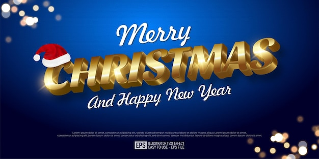 Creative 3d text merry christmas editable style effect template suitable for christmas banner