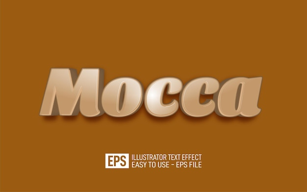 Creative 3d text mocca editable style effect template