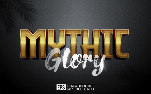 Creative 3d text mythic glory, editable style effect template