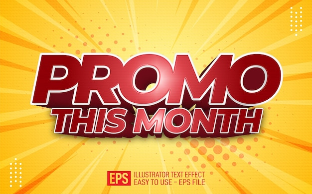 Creative 3d text promo this month, editable style effect template