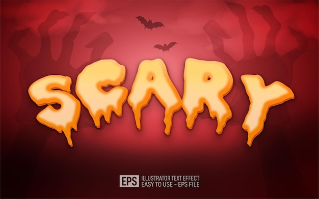 Creative 3d text scary, editable style effect template