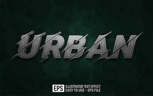 Creative 3d text urban, editable style effect template
