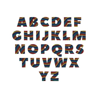 Creative abc alphabets in colorful colors over black silhoutte
