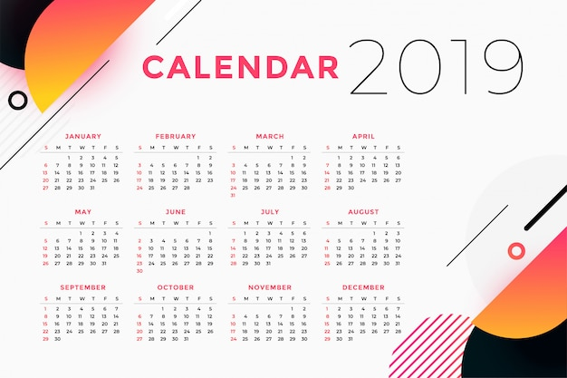 Creative abstract 2019 calendar design