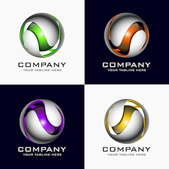 Creative abstract 3d sphere vector logo design template element.