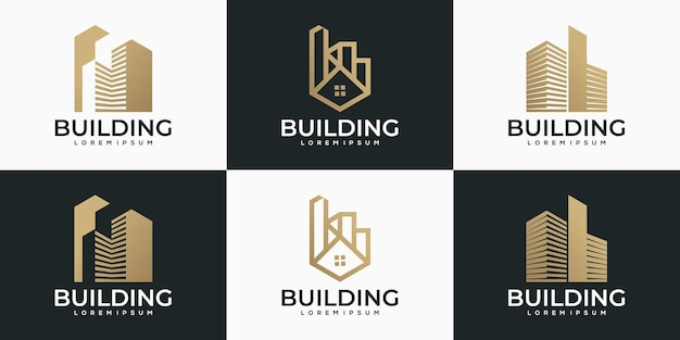 Creative abstract building logo collection