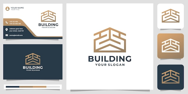 Creative abstract building logo template with business card design. premium vector