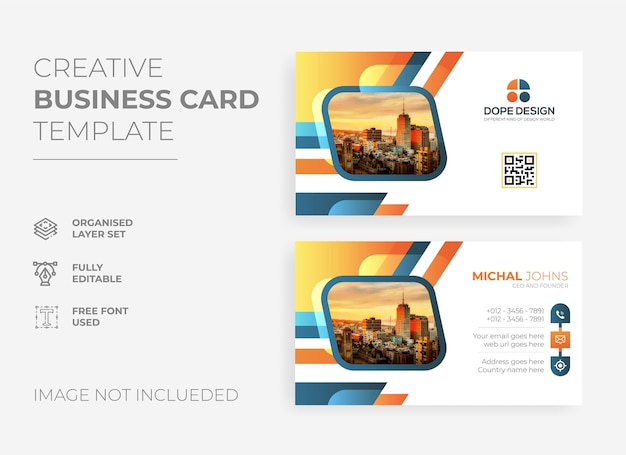 Creative abstract business card template premium vector