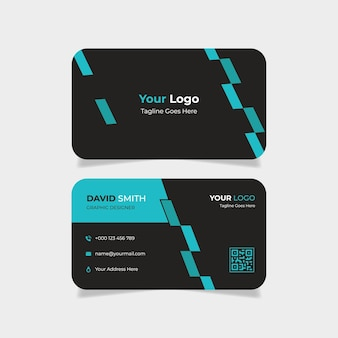 Creative abstract business card with blue and black