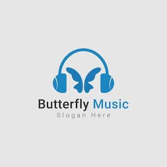 メディア音楽のための創造的な抽象的な蝶のロゴ