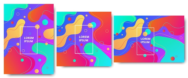 Creative abstract fluide shape geometric pattern background or wallpaper set