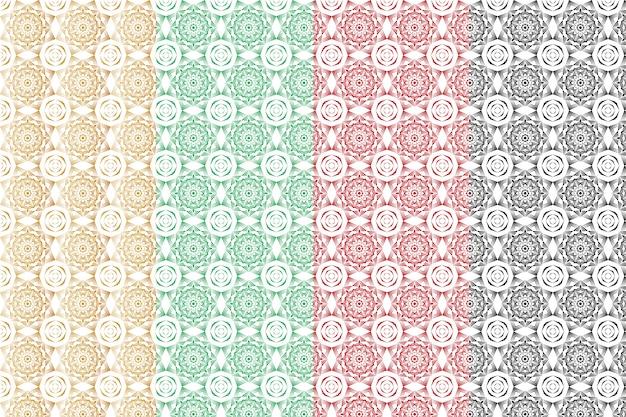 創造的な抽象的な幾何学的なシームレスなマンダラアラベスクパターンセット