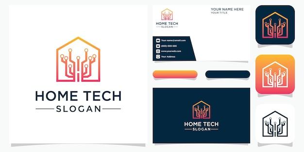 Креативный абстрактный домашний технический логотип Premium векторы