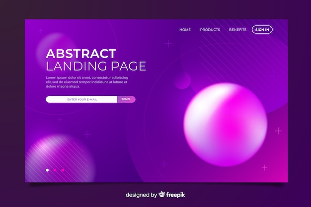 Creative abstract landing page with memphis elements