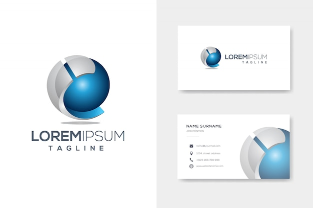 Creative abstract letter i 3d sphere logo template with business card