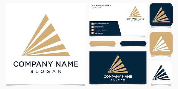 Creative abstract logo for company letter a logo and business card premium vektor