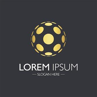 創造的な抽象的なロゴデザイン。黄金の原子要素。