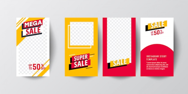 Creative abstract modern graphic stories sets. template set with liquid modern gradient banners