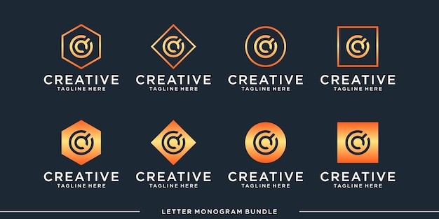 Creative abstract monogram initial