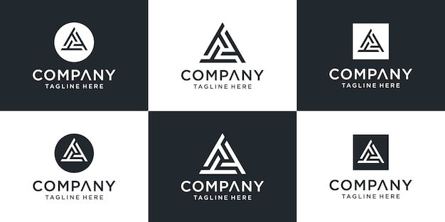 Creative abstract monogram letter ttt logo with triangle  template concept